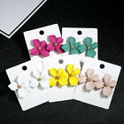 Внешний вид - 2019 New Fashion Boho Painting Big Flowers Ear Stud Earrings Women Charm Jewelry