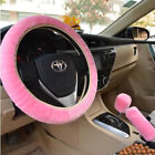 3Pc Set Soft Steering Wheel Cover Fuzzy Wool Plush Car Accessories Winter Warmer