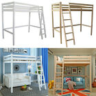 Wooden Frame Cabin Bed High Sleeper Bunk Children Kids Ladder Bedframe Tall Beds