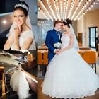 White/Ivory Ball Gown Wedding Dresses Applique Sheer Cap Sleeves Bridal Gown New