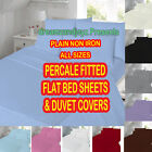 BEST PLAIN NON IRON PERCALE FITTED , FLAT BED SHEETS & DUVET COVERS  ALL SIZES