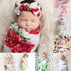 Kyпить USA Newborn Baby Floral Swaddle Wrap Swaddling Sleeping Bag Blanket Headband Set на еВаy.соm