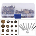 40 Sets 10/12/15/17mm Brass Snap Fasteners Popper Press Stud Buttons Leather Kit
