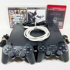 Slim PS3 PlayStation 3 160gb w/ 2 OEM Cont. & up to 17 Games RDR GTA Batman COD