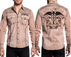 AFFLICTION Mens LS Button Down Shirt DESERT WAR Embroidered CLAY SAND Eagle $88