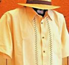 Ivory Guayabera Casual Shirt Cotton Manta Chiapas Mexico Embroidery Button down