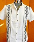 5 de Mayo Mexican White Guayabera Casual Shirt Cotton Embroidery Buttons Down