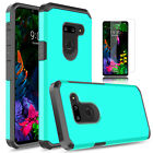 For LG G8 ThinQ Shockproof Armor Case Cover With Tempered Glass Screen Protector