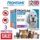 FRONTLINE Spot On Flea & Tick Lice Remedies Treatment for All Dogs 3 Pipettes