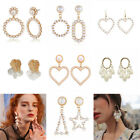 Boho Women Crystal Pearl Geometric Statement Drop Earrings Dangle Wedding Gifts
