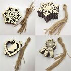 10/25/50Pcs Christmas Tree Snowflake Wooden Scrapbooking Hanging Ornaments 2017