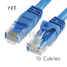 10x 7FT CAT6 Cable Ethernet Lan Network CAT 6 RJ45 Patch Cord Internet Blue NEW
