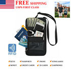 Passport Holder Neck Pouch RFID Blocking Travel Wallet Security For Mens Womens