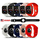 Silicone Watch Band Case Protector Cover Strap For apple watch Series 5 4 3 2 1  image