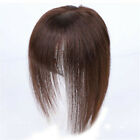 100 Real Human Hair Clip in Topper Hairpiece With 3D Flat Bangs Cover Grey Hair