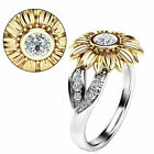 2019 Women Sunflower Silver Rose Gold Ring Plated Zircon Promise Wedding Jewelry image