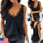 Women Lace Strappy Sleeveless Camisole Vest Tank Top Silk Cami Satin Effect