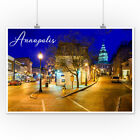 Annapolis, Maryland - Street View at Night (Art Posters, Wood & Metal Signs)