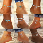 Multilayer Anklets For Women Starfish Shell Beads Anklet Bracelet Boho Jewelry image