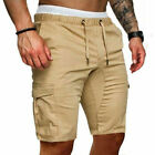 Mens Cargo Shorts Pants Casual Summer Beach Sport Gym Trousers Plain Elastic