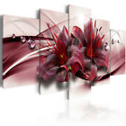 Red Lilies Abstract Flower 5 Pieces Canvas Wall Decorating Home Decor Poster