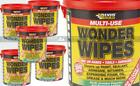Everbuild Wonder Wipes Oil Paint Grease Hand Cleaner 300 Wipe Tubs 1,3 or 5 tubs