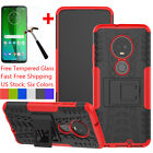 For Motorola Moto G7 Power/Plus/Play/Supra Case With Ring Stand+Tempered Glass