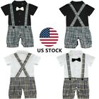 US Kid Baby Boy Cake Smash Birthday Suspender Bloomers Outfit Photo Prop Clothes