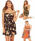 Fruit Print Mock Horn Button Detail Strappy Cami Dress