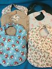 Handmade Baby Bibs Soft Flannel Reversible Assorted Colors & Designs Side Close