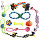 nuoshen 10 Pieces Dog Rope Toy, Dog Non-toxic Material Rope Chew Toy Set for Sm