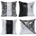 Cotton Linen Pillow Case Sofa Throw Waist Cushion Cover Silver&black Home Decor
