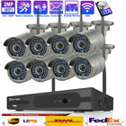 Techage 8CH Wireless NVR 2MP 1080P 2-Way Audio Wifi Camera CCTV Security System
