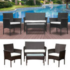 Set 4 Outdoor Garden Furniture Set Rattan Table Chairs Sofa Patio Conservatory