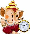 Wooden Wall Clock Unique Lord Ganesha Hand Painted Home Decor Hanging Clock Gift