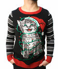 Ugly Christmas Sweater Teen Boy's Cat Lights LED Light Up Sweatshirt
