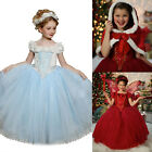 Kids Girl Fancy Princess Belle Cinderella Dress Up Christmas Costume Party Dance