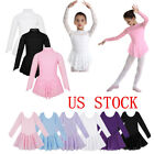 US Kids Girls Ballet Dance Leotard Dress Roller Skating Skirt Costume Dancewear