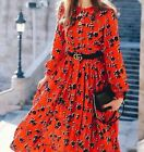 ZARA RUFFLED HEM ROUND NECK FLOWING MIDI LONG RED DITSY FLORAL PRINT SHIRT DRESS