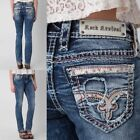 NWT New Womens Rock Revival Luiza Straight Jeans 25 26 27 28 29 30 31 32 R &Long