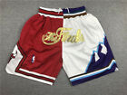 Men Chicago Bulls Utah Jazz splice mesh Basketball Pants pocket Short