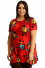 New Womens Plus Size Top Ladies Floral Print Swing Tunic Skater A-Line Blouse