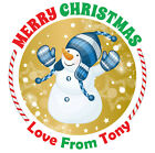 Merry Christmas Stickers Label Santa present Personalised MATT & GLOSS Q24 & 35