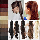 CLIP in PONYTAIL HAIR PIECE Curly Straight BLONDE BROWN PILLAR RED GINGER PLUM