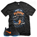 "New Black ""Foamin At The Mouth"" T Shirt for Nike Foamposite Knicks Orange Blue image"