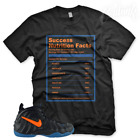"New Black ""SUCCESS FACTS"" T Shirt for Nike Foamposite Knicks Orange Blue Black image"