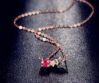 Star Crystal Stone Pendant Necklace 925 Sterling Silver Chain Womens Jewellery