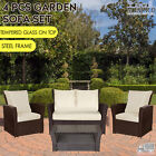 New Rattan 4pcs Garden Sofa Set 2+1+1 With Garden Table Outdoor Furniture,brown