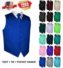 Kyпить Men's Solid Satin Tuxedo Vest, Tie and Hankie. Formal, Dress, Wedding, Prom на еВаy.соm
