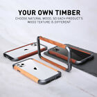 For iPhone 11 Pro Max R-just Wood Metal Aluminum Bumper Frame Phone Case Cover